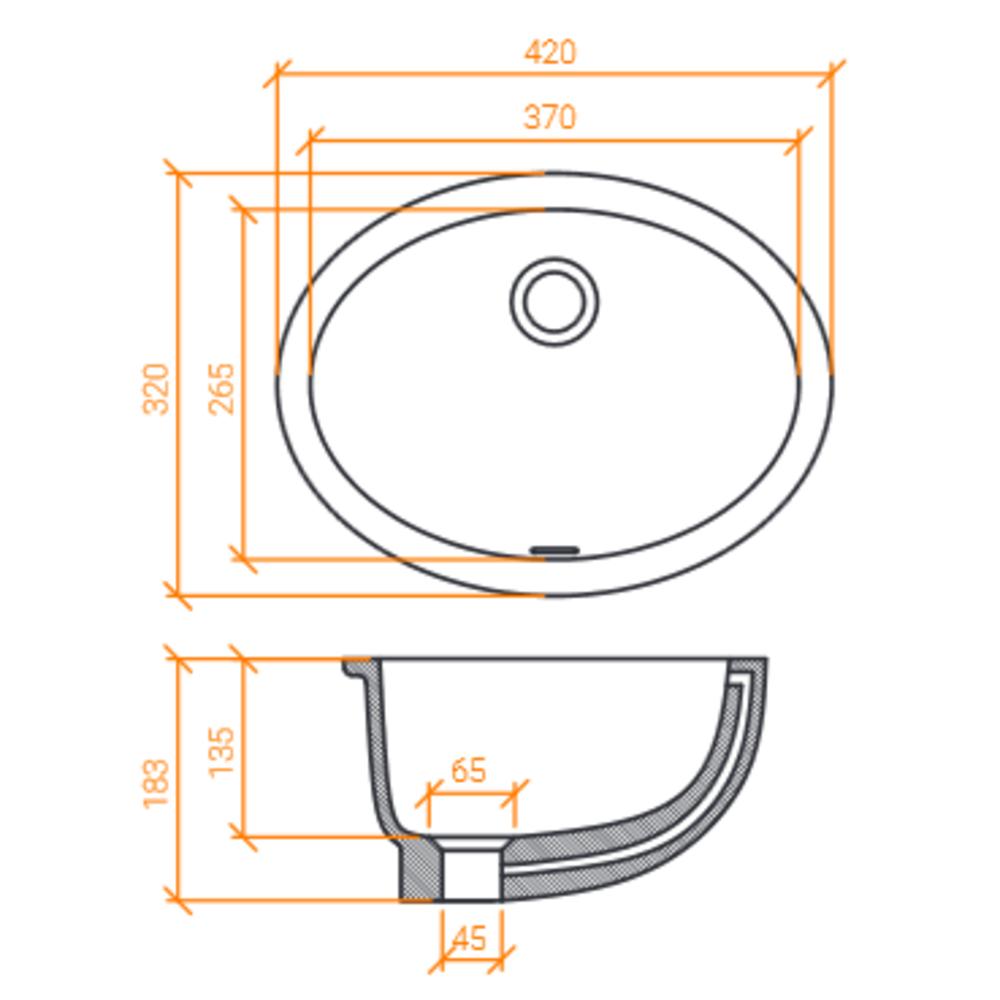 Lavabo ACRY +   BB R 375 INT   A coller