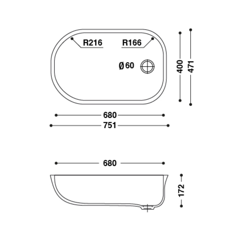 Baignoire HI-MACS®   CB680   pour bébés