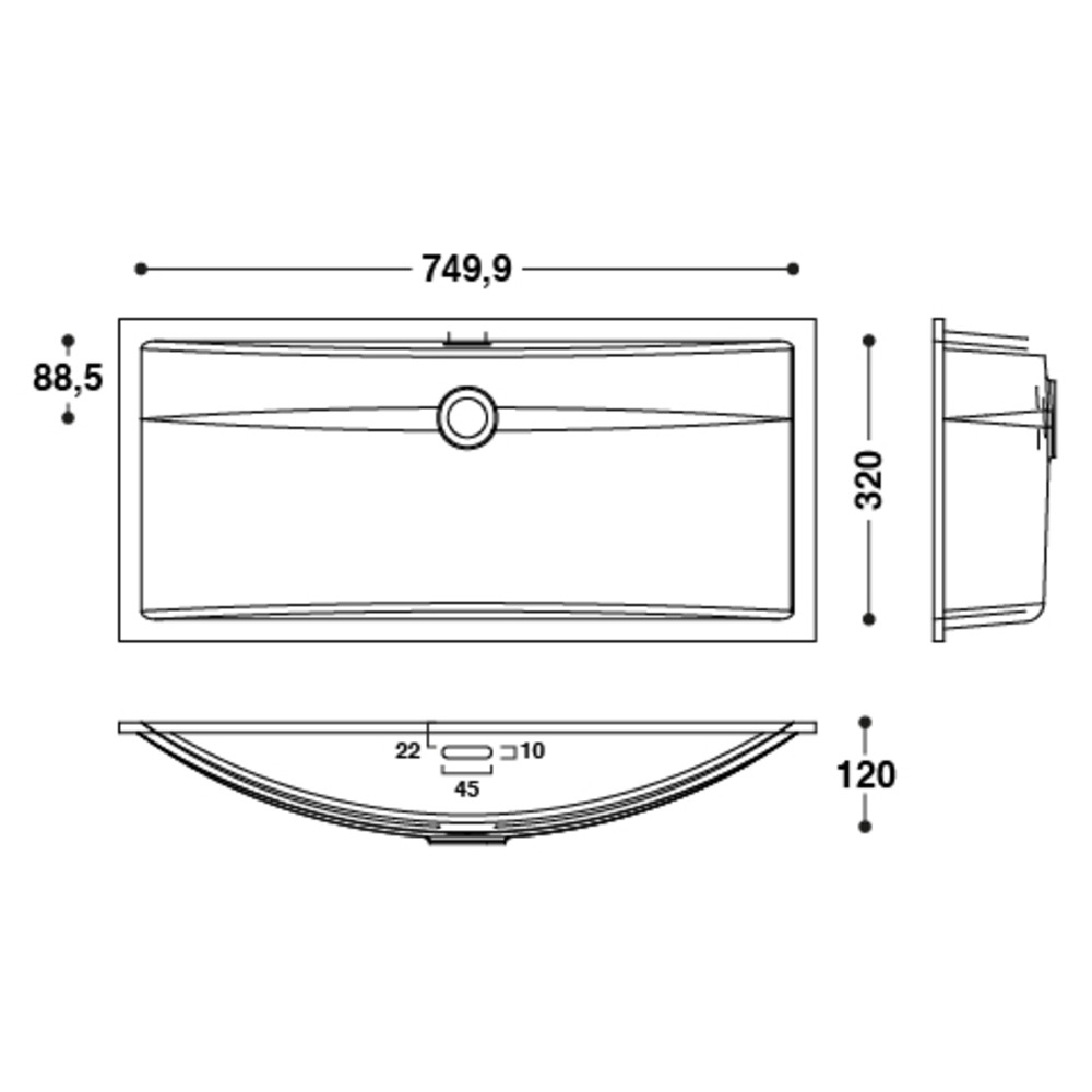 Vasque HI-MACS®   CB753   À coller