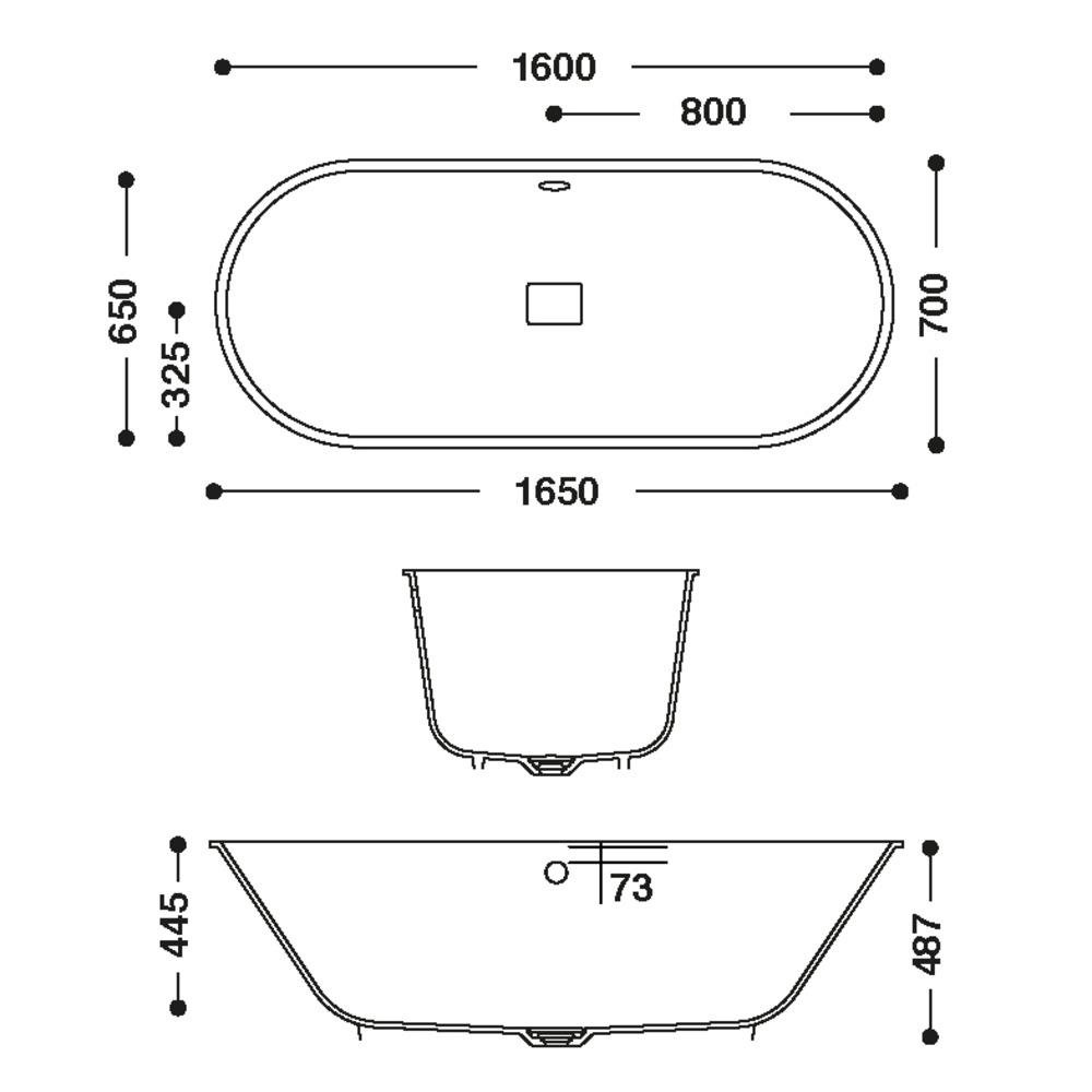 Baignoire HI-MACS®   CBT-160-65